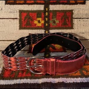 Orange Metallic Braided Belt